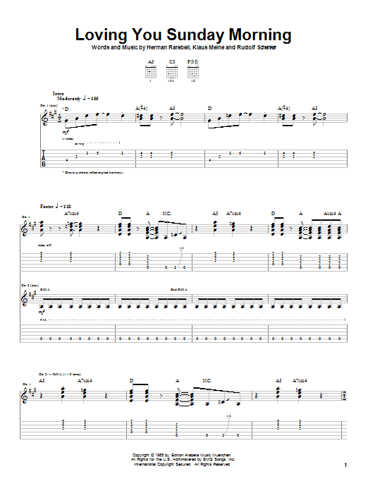 Scorpions Loving You Sunday Morning sheet music notes and chords. Download Printable PDF.