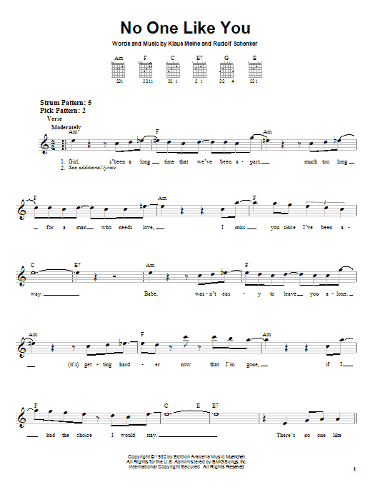 Scorpions No One Like You sheet music notes and chords
