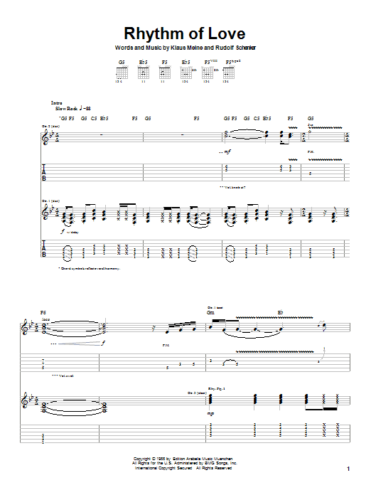 Scorpions Rhythm Of Love sheet music notes and chords