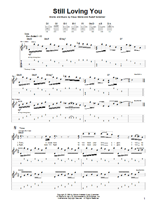 Scorpions Still Loving You sheet music notes and chords. Download Printable PDF.