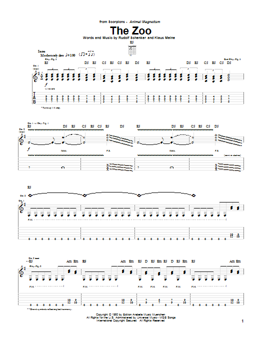 Scorpions The Zoo sheet music notes and chords. Download Printable PDF.