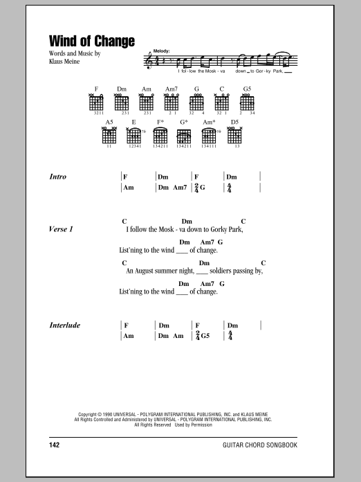 Scorpions Wind Of Change sheet music notes and chords