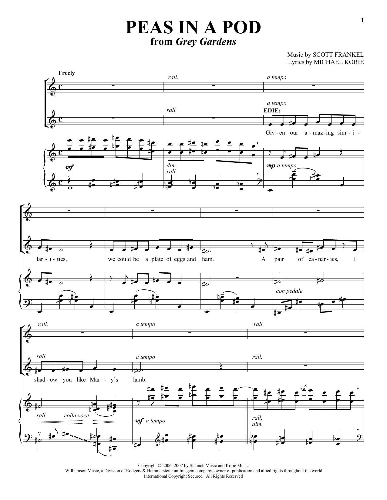 Scott Frankel Peas In A Pod sheet music notes and chords. Download Printable PDF.