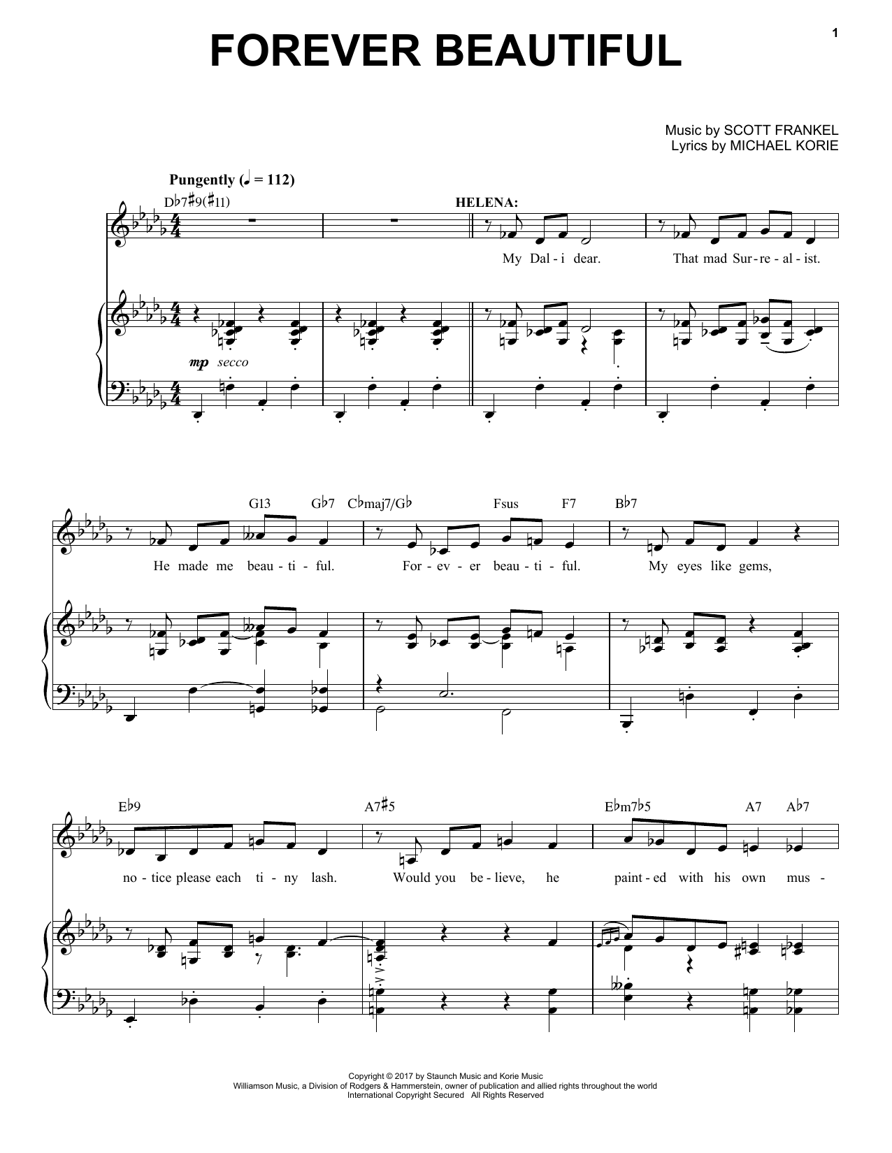 Scott Frankel & Michael Korie 'Forever Beautiful (from War Paint The  Musical)' Sheet Music Notes, Chords | Download Printable Piano & Vocal -  SKU: