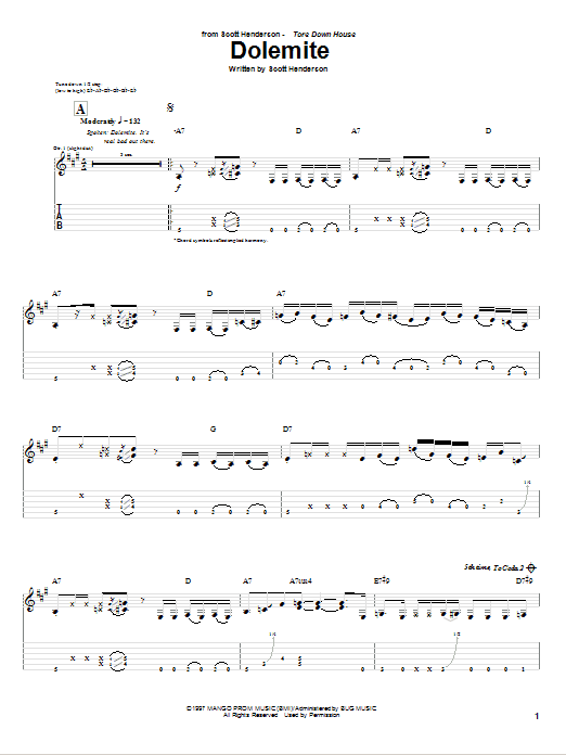 Scott Henderson Dolemite sheet music notes and chords. Download Printable PDF.