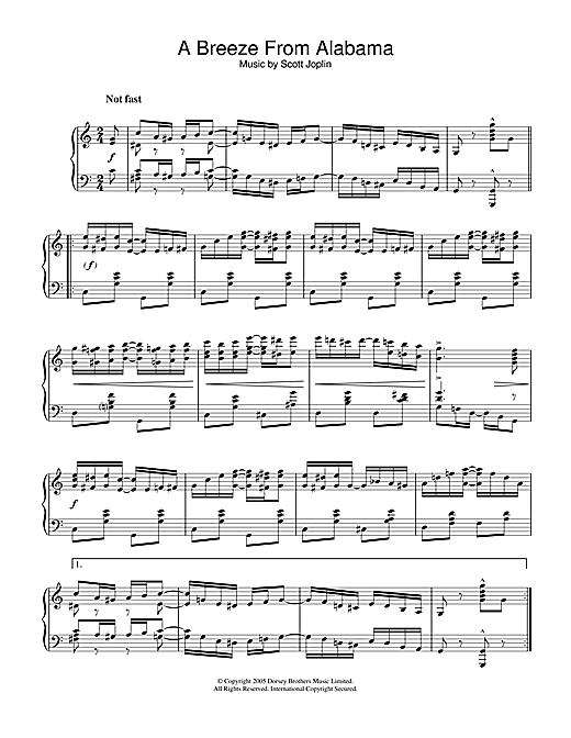 Scott Joplin A Breeze From Alabama sheet music notes and chords