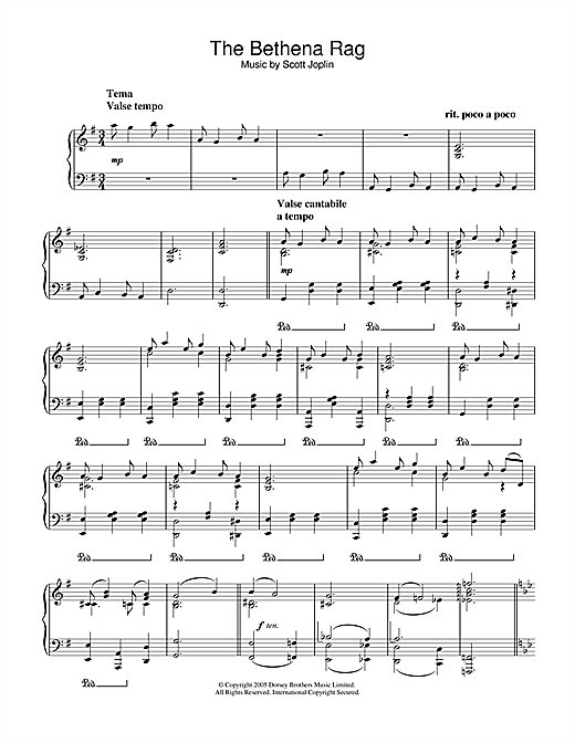 Scott Joplin Bethena Rag sheet music notes and chords