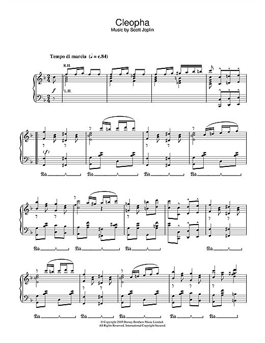 Scott Joplin Cleopha sheet music notes and chords