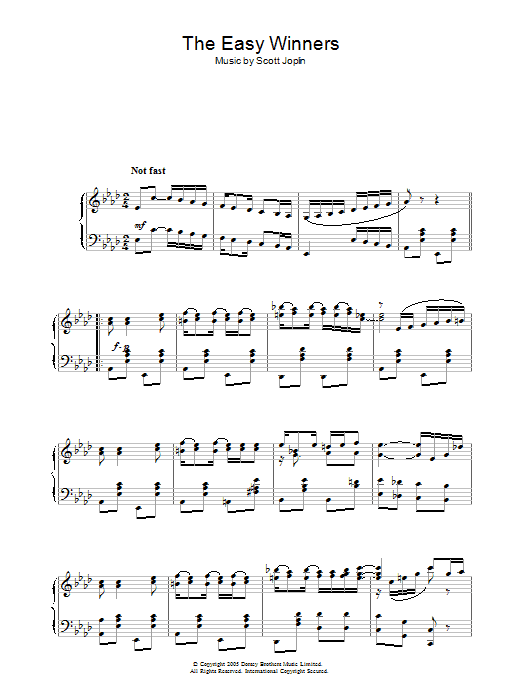 Scott Joplin The Easy Winners sheet music notes and chords. Download Printable PDF.