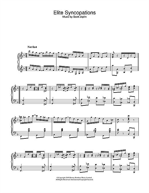 Scott Joplin Elite Syncopations sheet music notes and chords