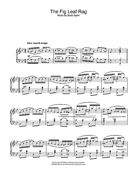 Scott Joplin Fig Leaf Rag sheet music notes and chords