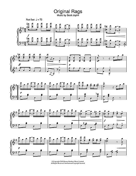 Scott Joplin Original Rags sheet music notes and chords