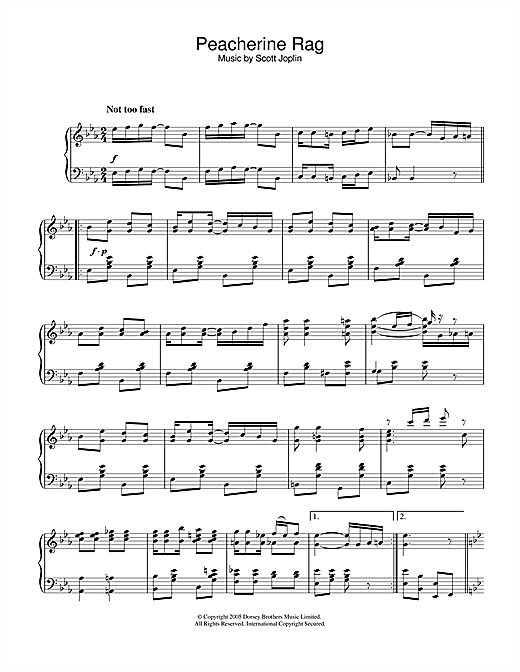 Scott Joplin Peacherine Rag sheet music notes and chords. Download Printable PDF.