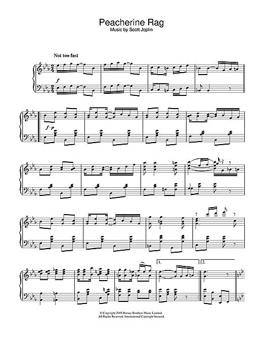 Scott Joplin Peacherine Rag sheet music notes and chords