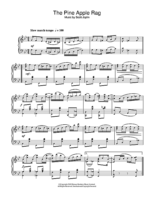 Scott Joplin Pineapple Rag sheet music notes and chords