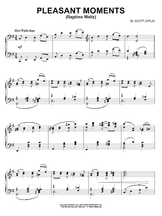 Scott Joplin Pleasant Moments (Ragtime Waltz) sheet music notes and chords. Download Printable PDF.