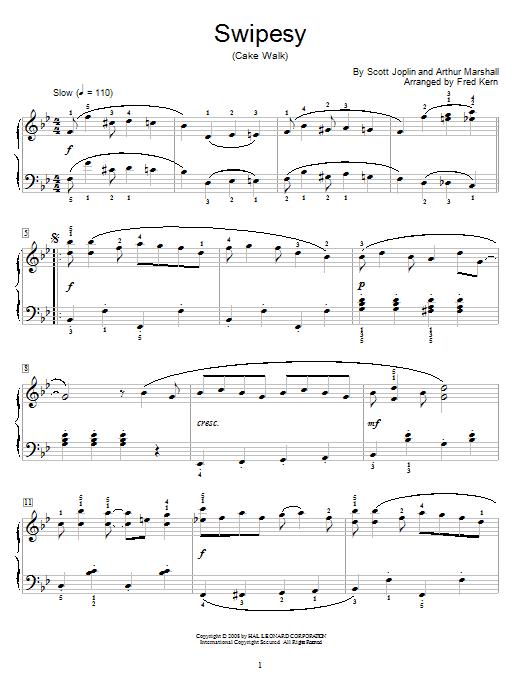 Scott Joplin Swipesy sheet music notes and chords. Download Printable PDF.