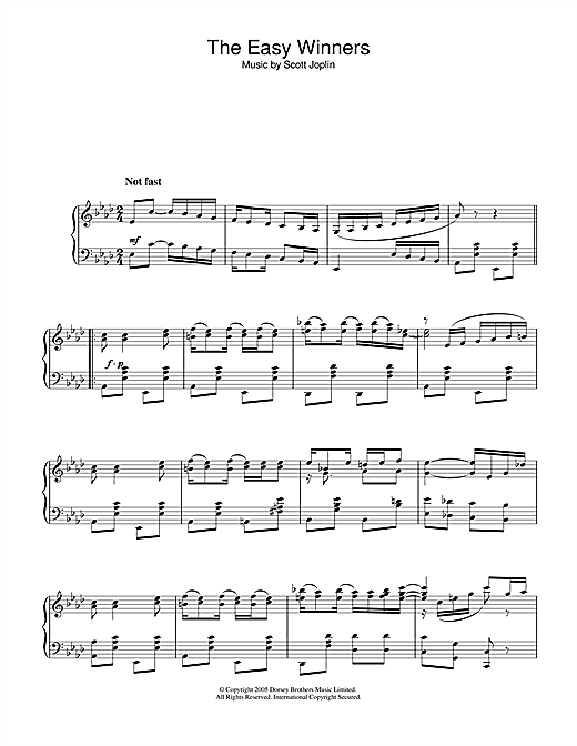 Scott Joplin The Easy Winners sheet music notes and chords