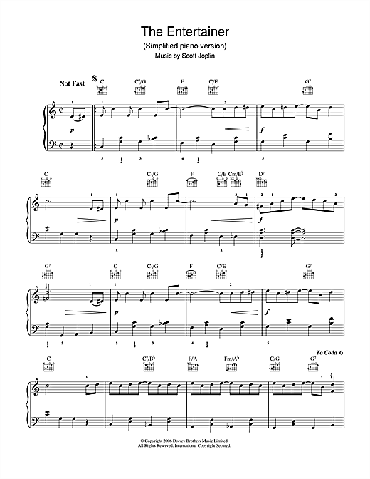 Scott Joplin The Entertainer sheet music notes and chords. Download Printable PDF.
