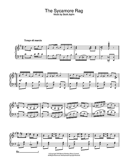 Scott Joplin The Sycamore sheet music notes and chords. Download Printable PDF.