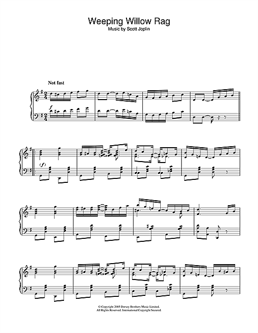 Scott Joplin Weeping Willow Rag sheet music notes and chords