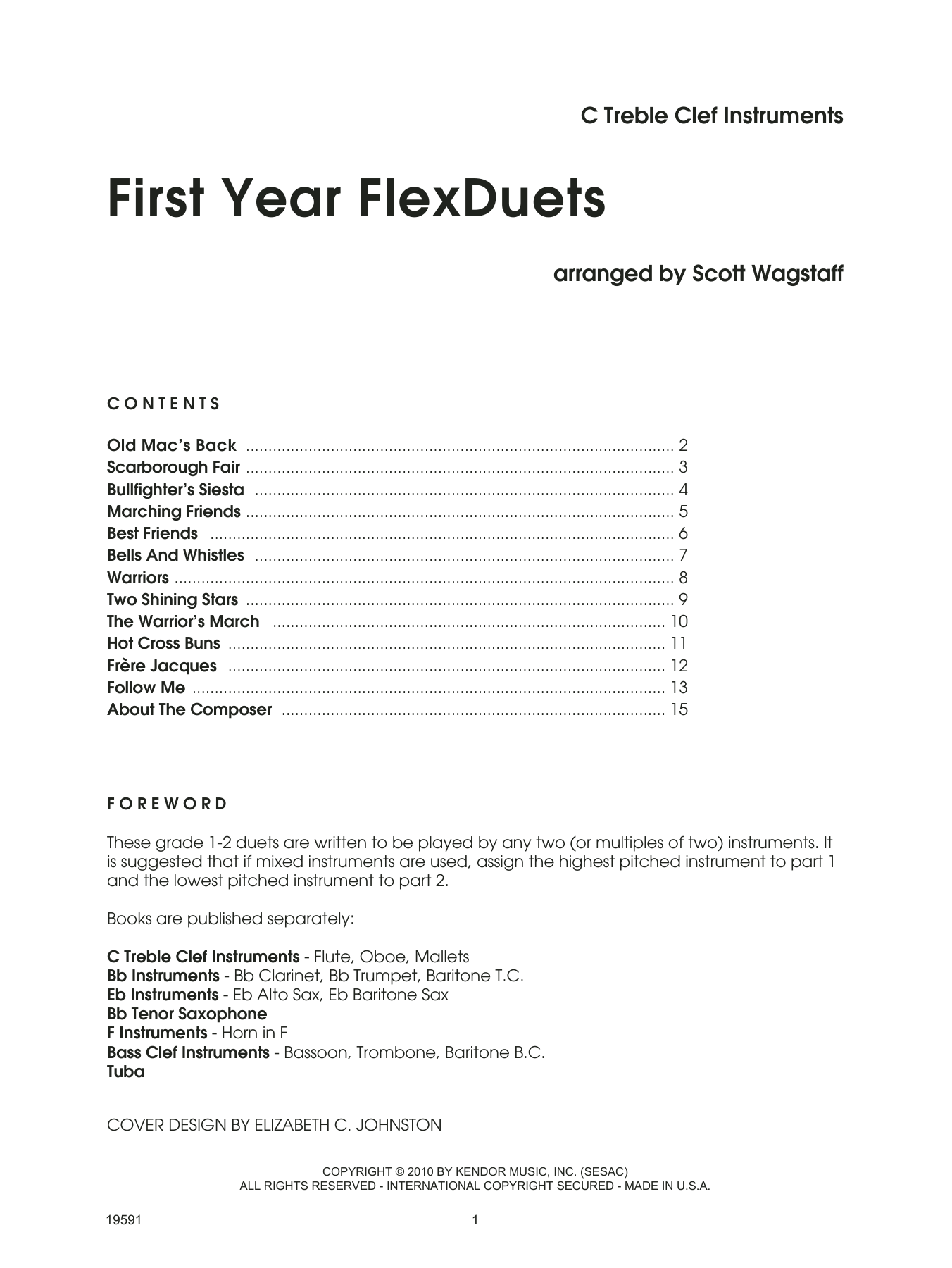 Scott Wagstaff First Year FlexDuets - C Treble Clef Instruments sheet music notes and chords. Download Printable PDF.