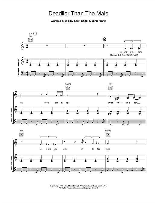 Scott Walker Deadlier Than The Male sheet music notes and chords. Download Printable PDF.
