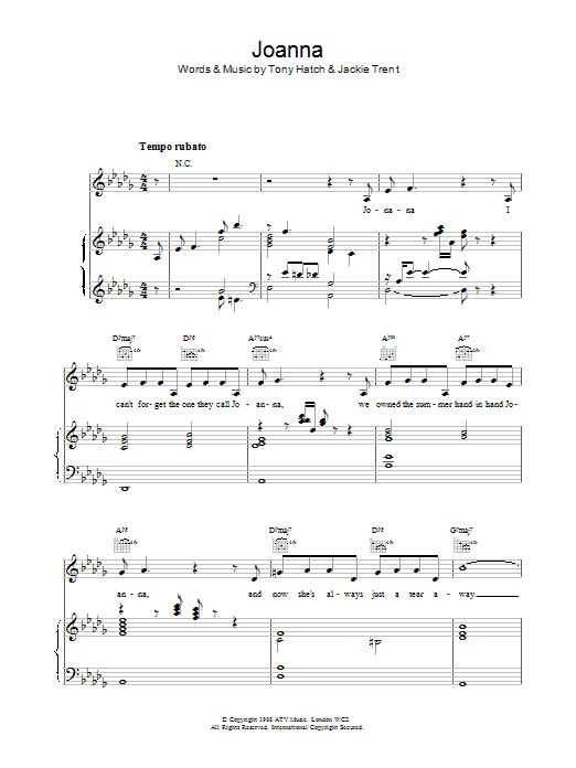 Scott Walker Joanna sheet music notes and chords. Download Printable PDF.