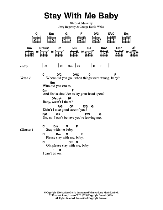 Scott Walker Stay With Me Baby sheet music notes and chords. Download Printable PDF.
