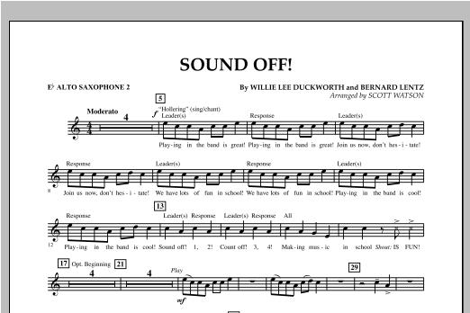 Scott Watson Sound Off - Eb Alto Saxophone 2 sheet music notes and chords. Download Printable PDF.