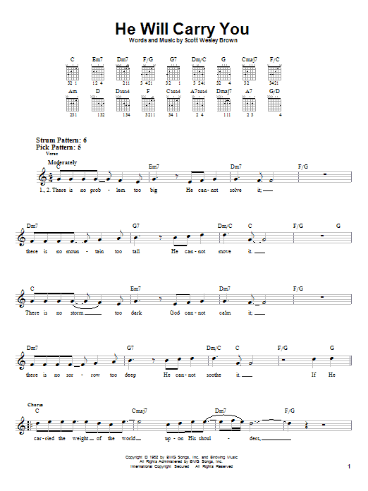 Scott Wesley Brown He Will Carry You sheet music notes and chords. Download Printable PDF.