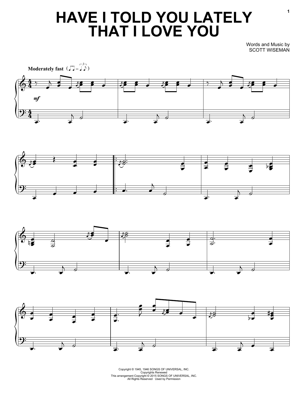 Scott Wiseman Have I Told You Lately That I Love You sheet music notes and chords. Download Printable PDF.
