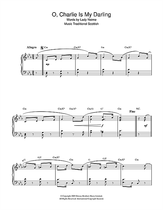 Scottish Folksong O, Charlie Is My Darling sheet music notes and chords
