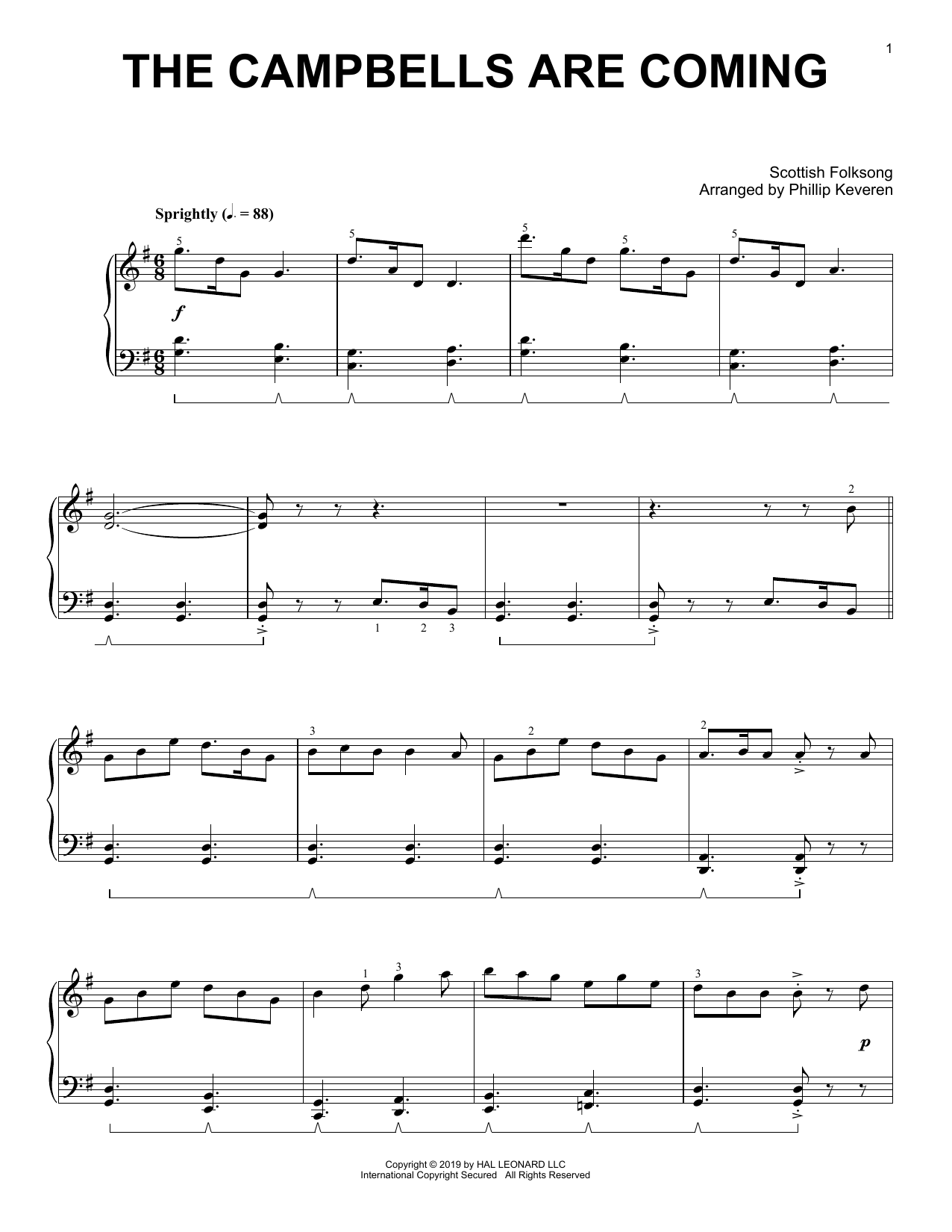 Scottish Folksong The Campbells Are Coming (arr. Phillip Keveren) sheet music notes and chords