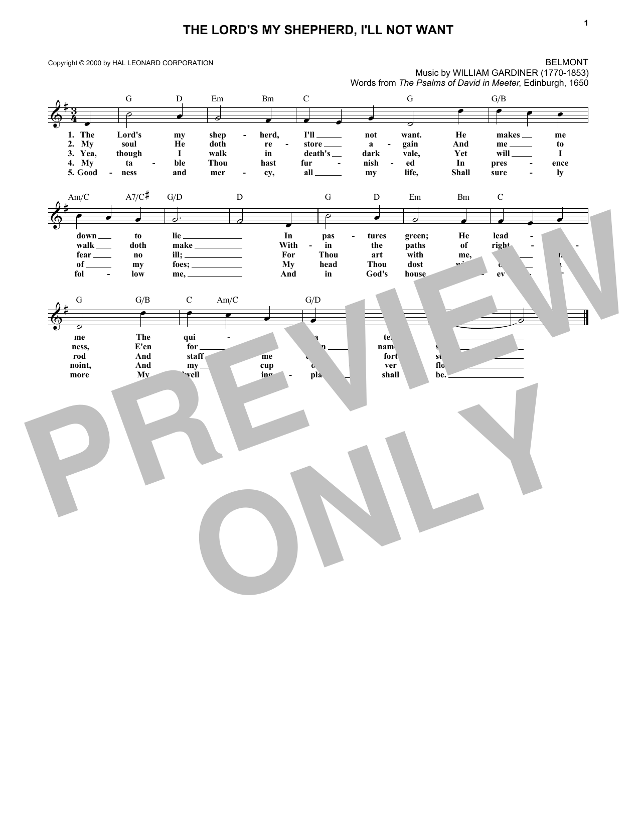 Scottish Psalter The Lord S My Shepherd I Ll Not Want Sheet Music Pdf Notes Chords Sacred Score Lead Sheet Fake Book Download Printable Sku 179597