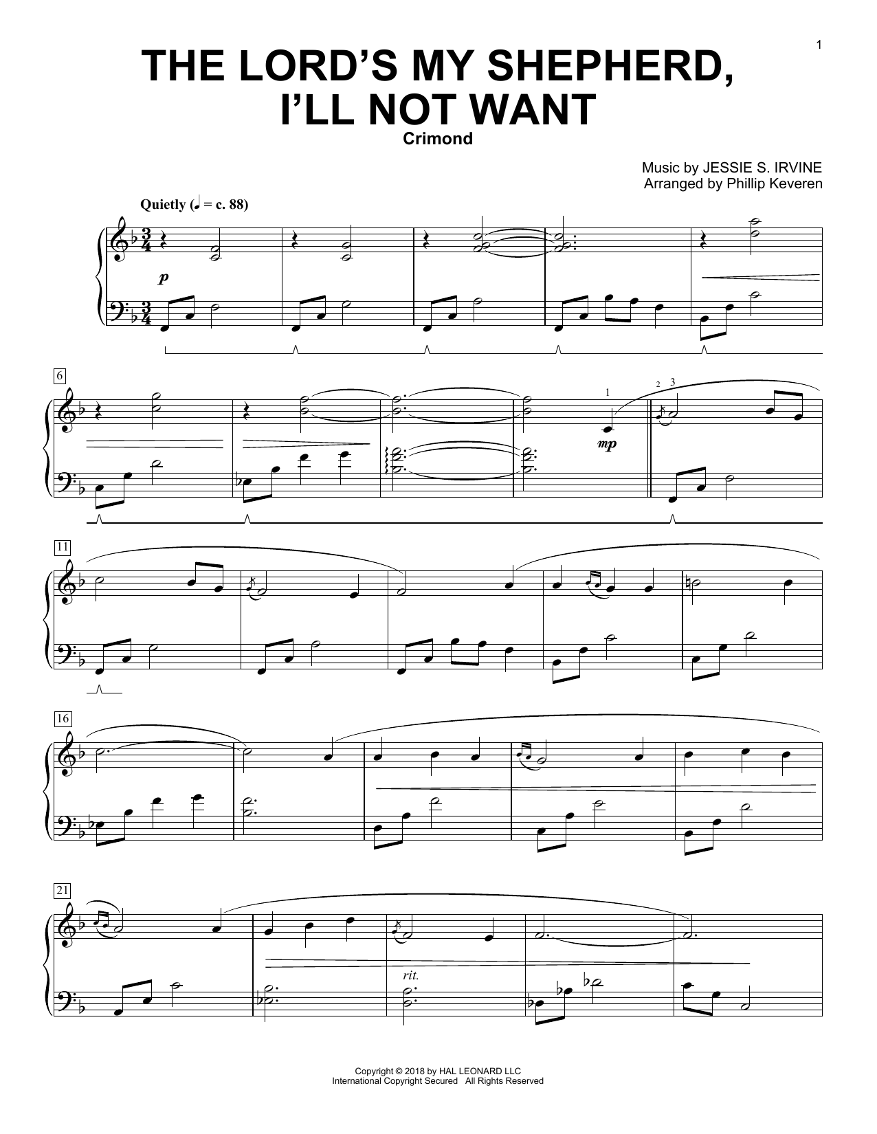 Scottish Psalter The Lord S My Shepherd I Ll Not Want Arr Phillip Keveren Sheet Music Pdf Notes Chords Sacred Score Piano Solo Download Printable Sku 254937