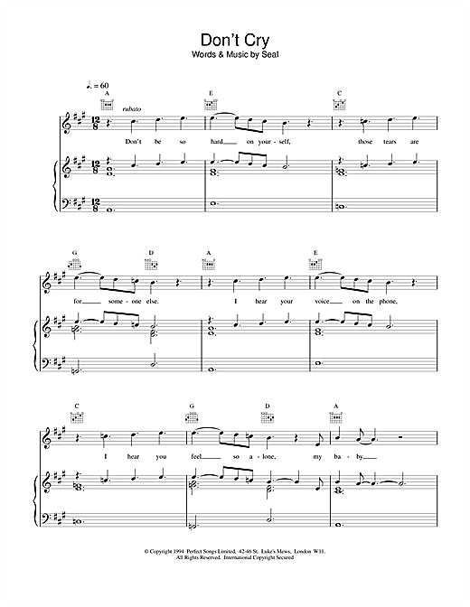 Seal Don't Cry sheet music notes and chords. Download Printable PDF.