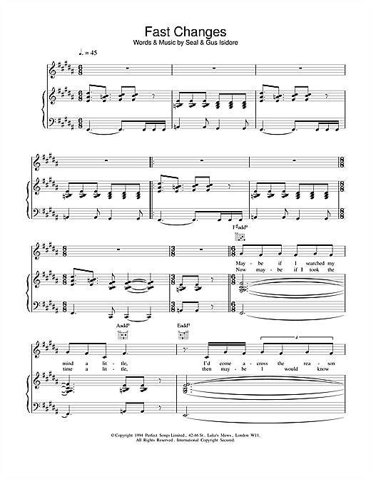 Seal Fast Changes sheet music notes and chords. Download Printable PDF.