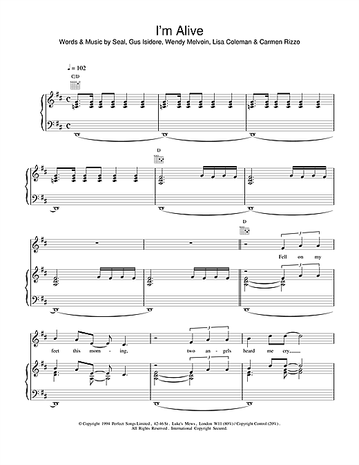 Seal I'm Alive sheet music notes and chords. Download Printable PDF.