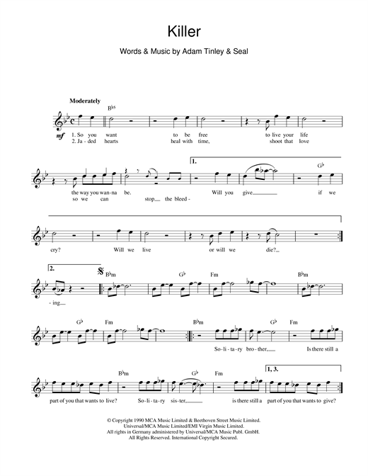 Seal Killer sheet music notes and chords