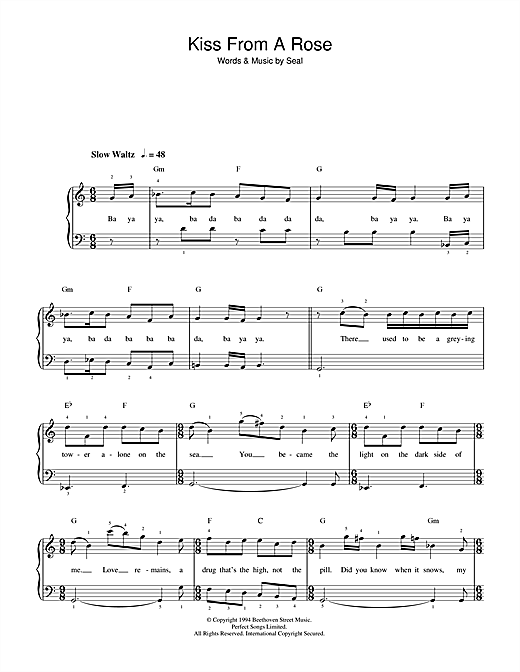 Seal Kiss From A Rose sheet music notes and chords. Download Printable PDF.