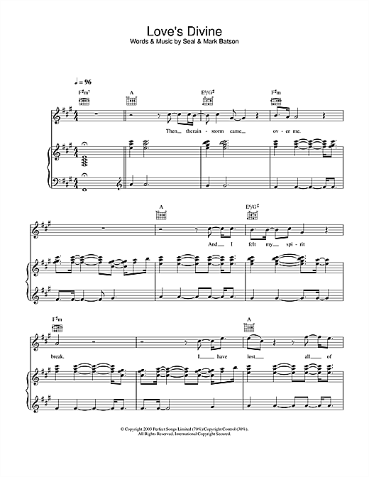 Seal Love's Divine sheet music notes and chords. Download Printable PDF.