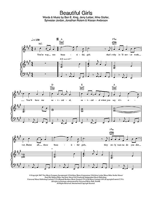 Sean Kingston Beautiful Girls sheet music notes and chords. Download Printable PDF.