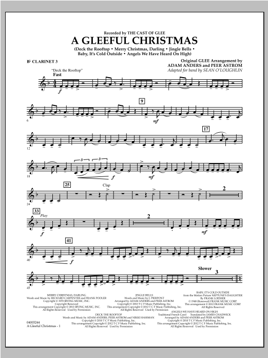 Sean O'Loughlin A Gleeful Christmas - Bb Clarinet 3 sheet music notes and chords