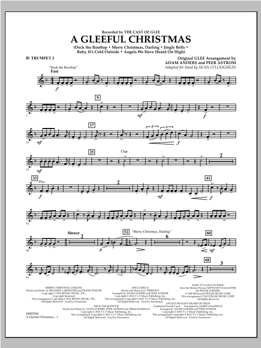 Sean O'Loughlin A Gleeful Christmas - Bb Trumpet 2 sheet music notes and chords. Download Printable PDF.
