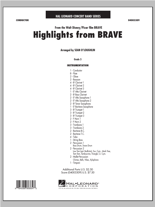 Sean O'Loughlin Highlights From Brave - Conductor Score (Full Score) sheet music notes and chords. Download Printable PDF.