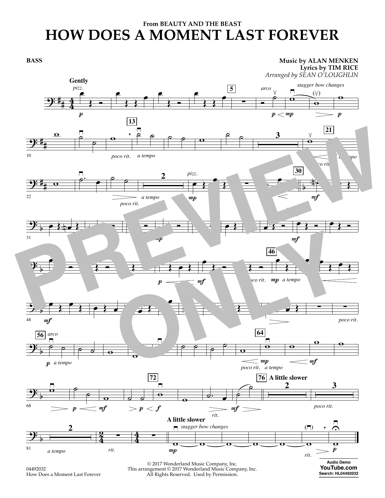 Sean O'Loughlin How Does a Moment Last Forever (from Beauty and the Beast) - Bass sheet music notes and chords. Download Printable PDF.