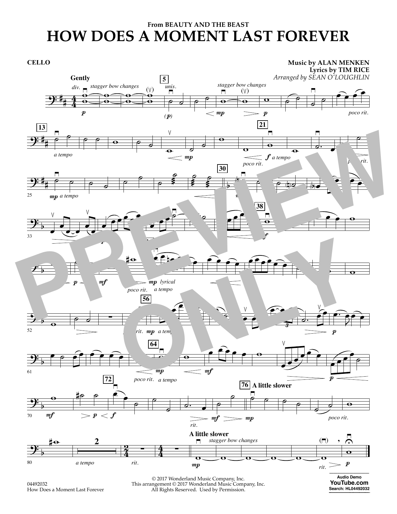 Sean O'Loughlin How Does a Moment Last Forever (from Beauty and the Beast) - Cello sheet music notes and chords. Download Printable PDF.