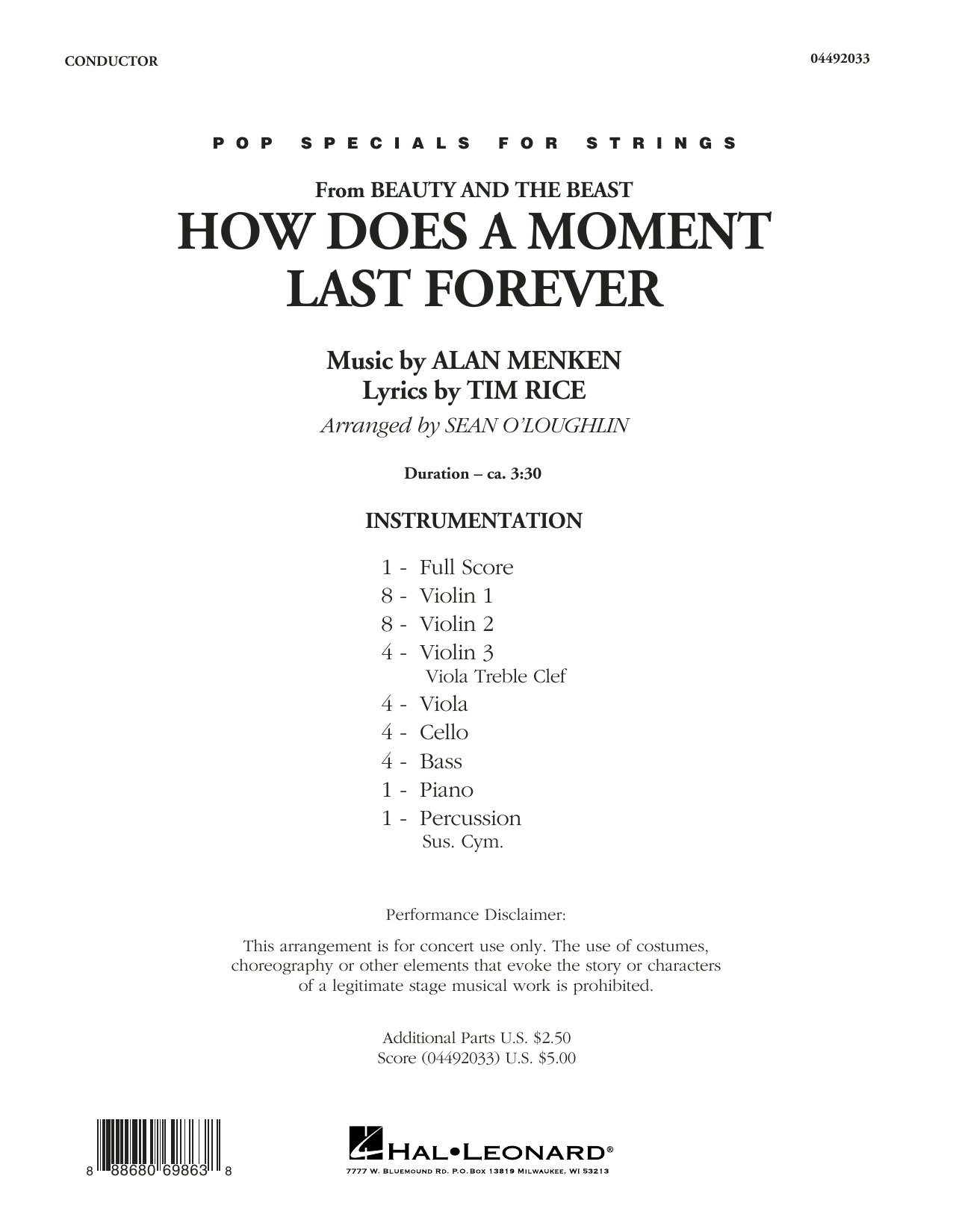 Sean O'Loughlin How Does a Moment Last Forever (from Beauty and the Beast) - Conductor Score (Full Score) sheet music notes and chords. Download Printable PDF.