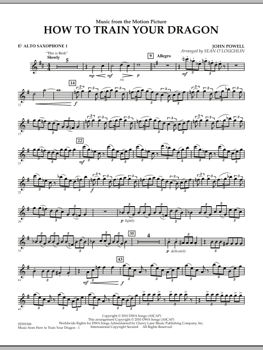 Sean O'Loughlin Music from How To Train Your Dragon - Eb Alto Saxophone 1 sheet music notes and chords. Download Printable PDF.